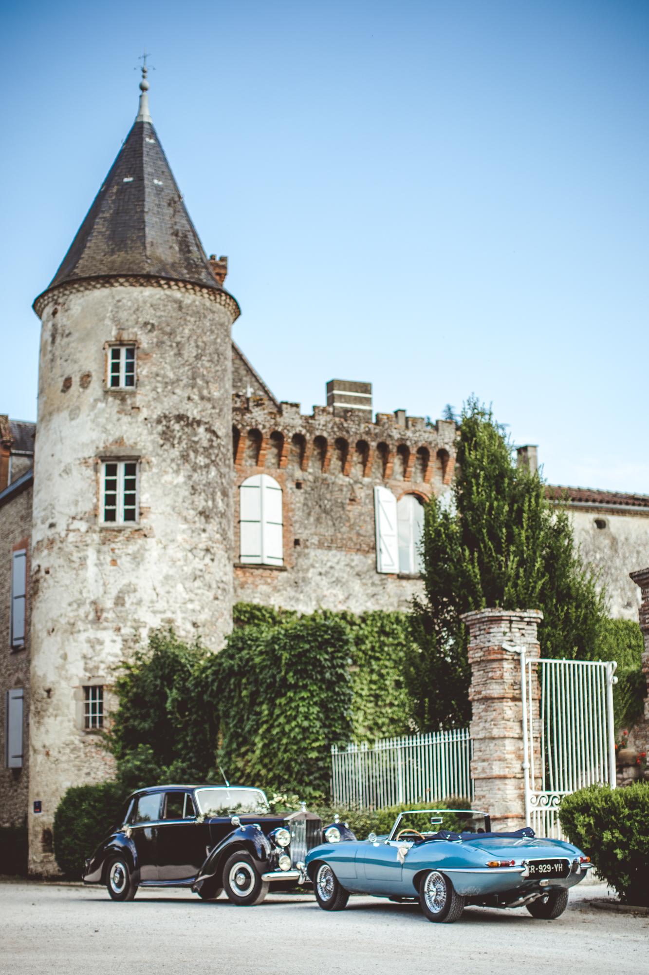 reportage mariage photo chateau croisillat caraman toulouse voiture maries jaguar mariage chateau